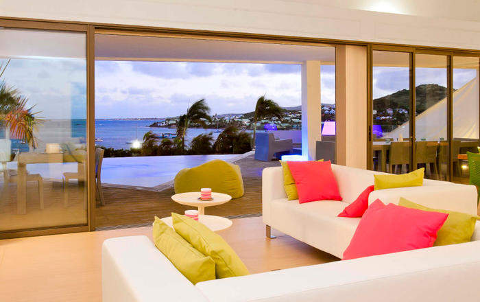 Villa Lobster 4 bedrooms has an amazing view in first ligne on Pinel Island, Cul-de-sac