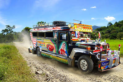 The vibrant decorative detail of jeepneys reflect Filipino exuberance