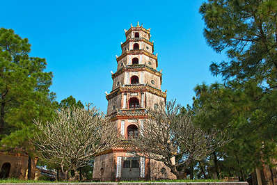 Thien Mu Pagoda perched above Hue's Perfume River