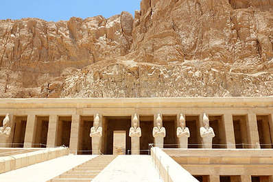 Towering pharaonic statues at the Temple of Hatshepsut