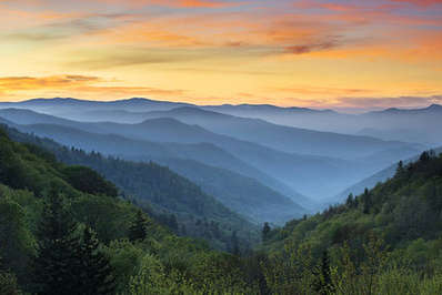 Sunrise Landscape Great Smoky Mountains National Park near Gatlinburg, Tennessee