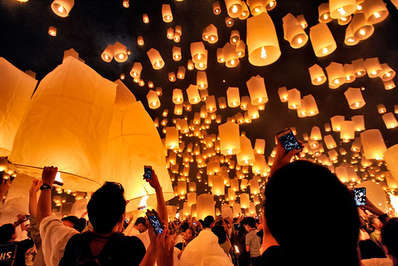 Traditional floating lanterns are released at Loy Krathong Chiang Mai Thailand