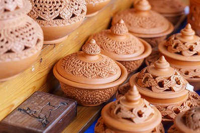 Thai traditional clay pottery on Koh Kret island, Thailand