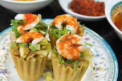 Nyonya Kueh Pie Tee with prawns is another popular Peranakan dish