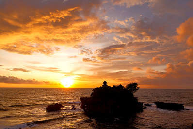 Bali's Tanah Lot Temple offers the perfect destination for stunning sunsets