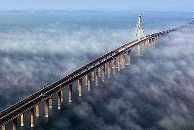 Aerial view of Jiaozhou bay bridge in China