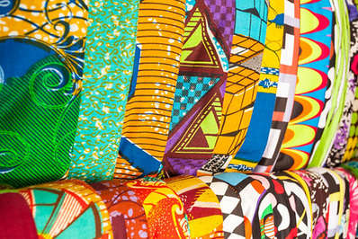 African traditional fabrics in a shop in Ghana West Africa