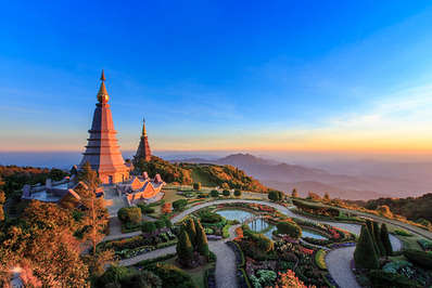 The twin chedis near the summit of Doi Inthanon