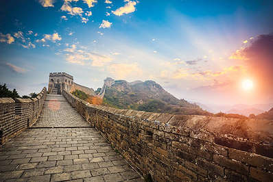 On the Great Wall at sunset