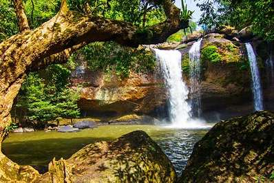 Heo Suwat waterfall in Khao Yai National Park famous from the movie The Beach