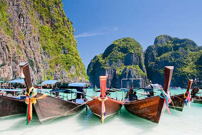 Long tail wooden boats at Maya Bay