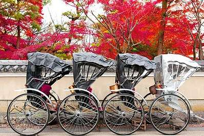 Rickshaws awaiting passengers in Kyoto, Japan