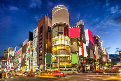 The popular Ginza district in Tokyo is where shopaholics head