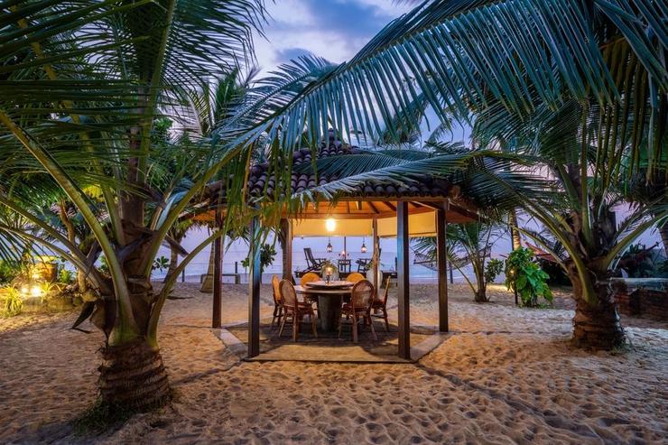 Outdoor dining sala at evening