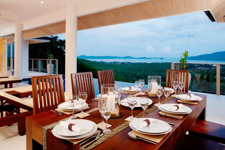 Andaman View (V02) - Outside terrace with teak dining table, seating 8 guests