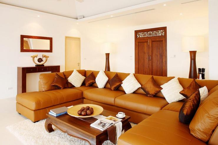 Large comfortable sofa in the centre of the living room