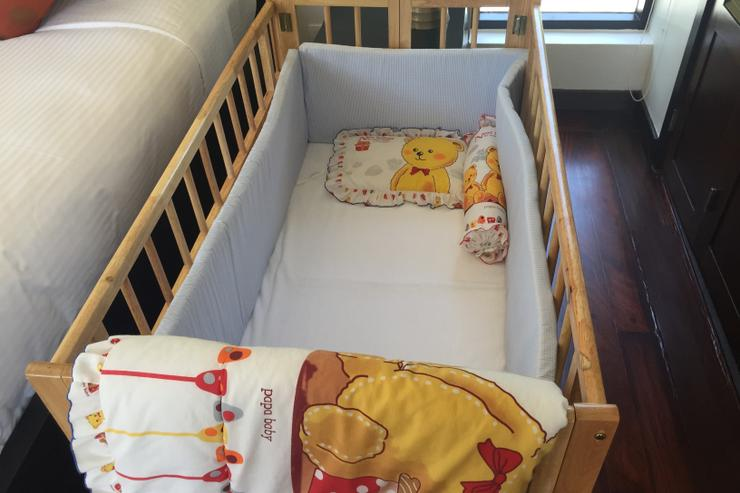 Baby cot available upon request for children below 3 yrs
