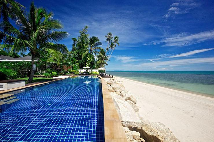 25m resort pool and secluded beach are just a minute's walk from the villa