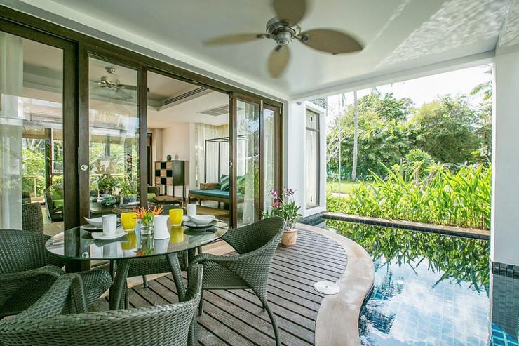 Villa's pool terrace with option for outdoor dining