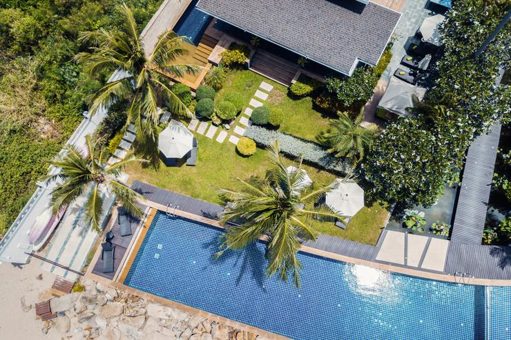 Aerial view of the Lotus Beach Villa's front section
