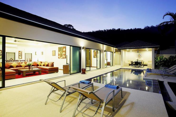 Large living room opening onto private swimming pool
