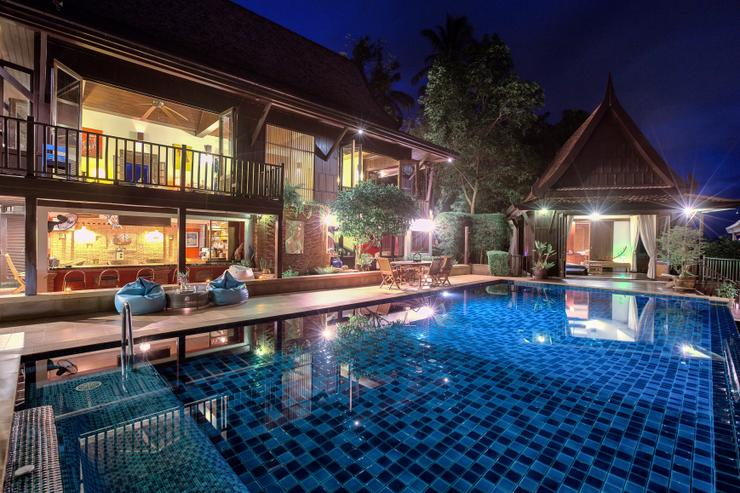 Villa Thai Teak at night - with 11m pool and full-time staff