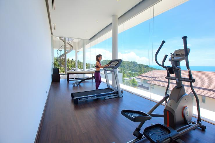 Villa White Tiger - Private gym with stunning panoramic ocean views over the neighboring islands