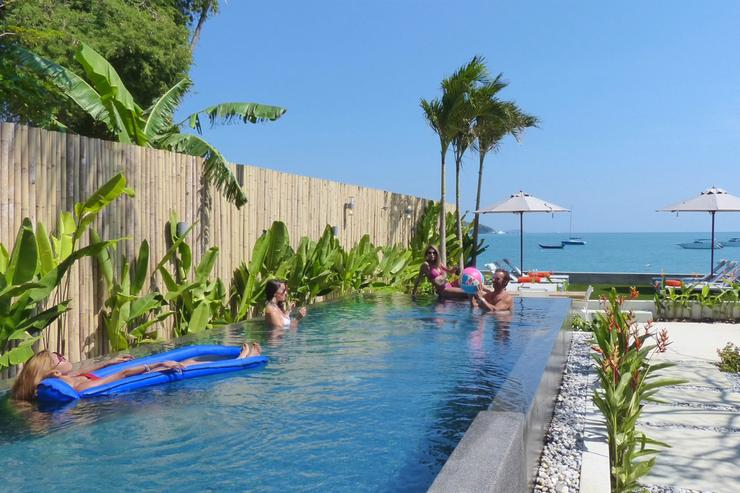 The stunning infinity pool, has multi-colour lights and is chemical-free.