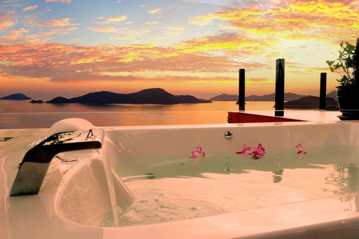 Enjoy the sunset and a glass of champagne whilst relaxing in the Jacuzzi. Five of the eight bathrooms enjoy either a jacuzzi or a two-person double-ended bath tub.