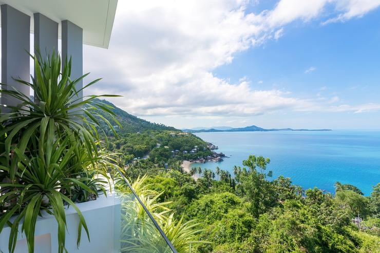 Villa Veana - View fromthe master bedroom on untouched Coral Cove and beyond on Samui's famed Chaweng Beach